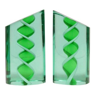 Mid-Century Italian Murano Glass Bookends - A Pair For Sale
