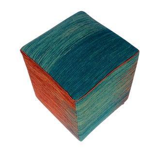 Arshs Dolly Blue/Rust Kilim Upholstered Handmade Ottoman For Sale