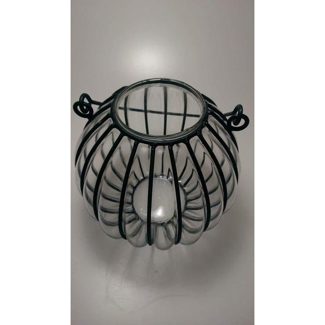 Caged Bubble Glass & Wrought Iron Lantern Hanging Basket For Sale - Image 5 of 7