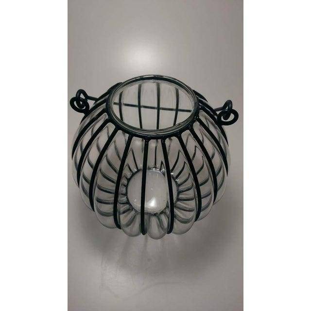 Caged Bubble Glass & Wrought Iron Lantern Hanging Basket - Image 5 of 7
