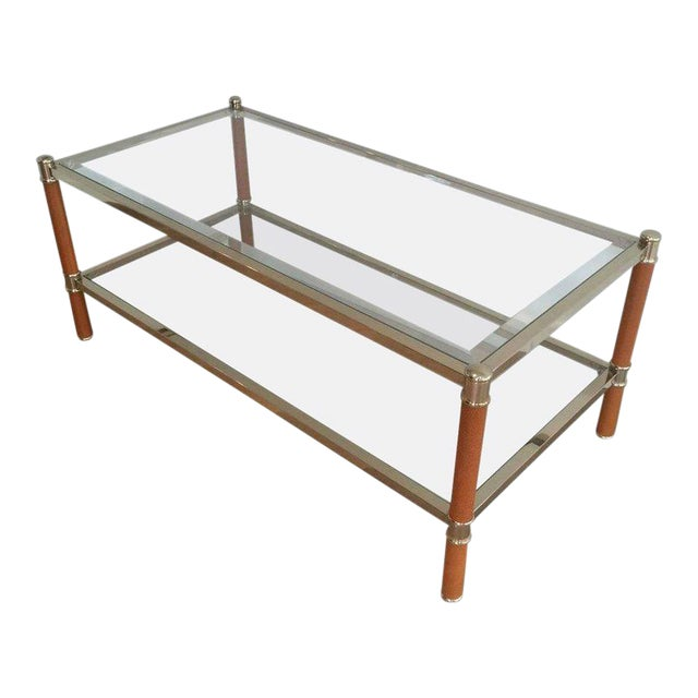 Gilt Brass and Leather Coffee Table by Lancel For Sale