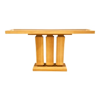 Vintage Art Deco Style Satin Wood Custom Console Table For Sale