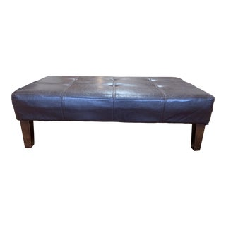 Leather Bench/Ottoman + Wood Legs For Sale