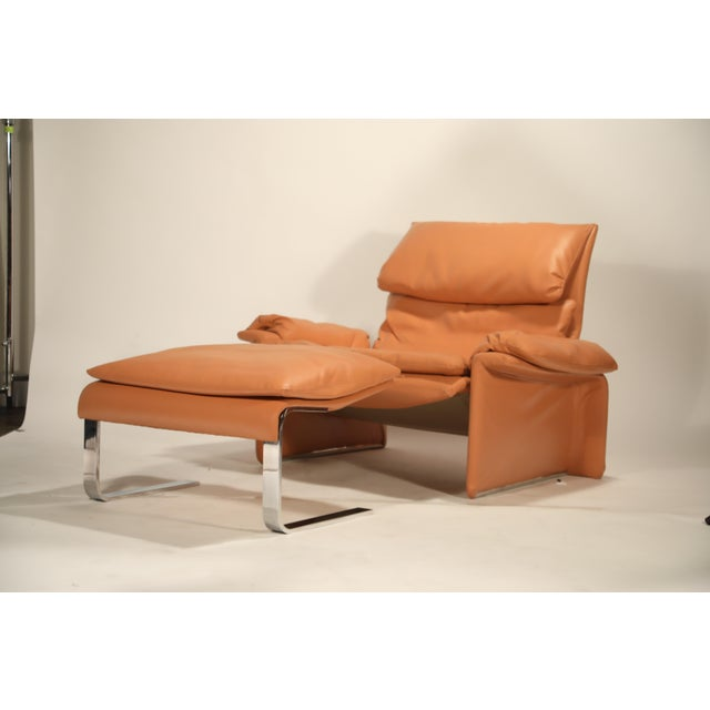 Italian 1970s Vintage Giovanni Offredi for Saporiti Lounge Chair and Ottoman For Sale - Image 3 of 13