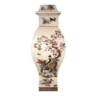 Antique Hand Painted Chinese Pottery Scenic Covered Urn Vase For Sale