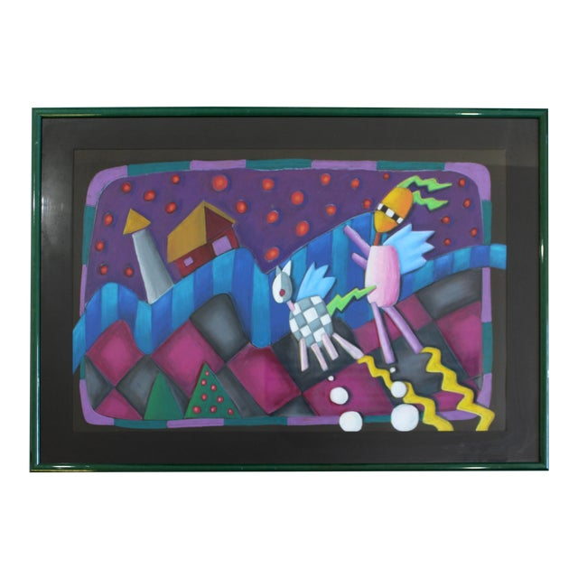 Contemporary Modern Memphis Style Framed Pastel Art Unsigned 1970s 1980s For Sale