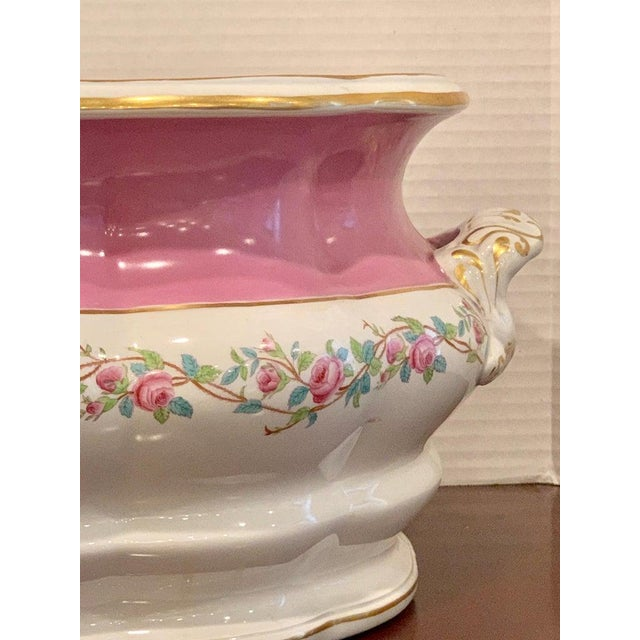19th Century Pink Floral Porcelain Foot Bath, Attributed to Mintons For Sale - Image 9 of 12