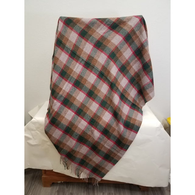 Wool Throw Green, Red, Brown in a Check Design - Made in England For Sale - Image 4 of 11