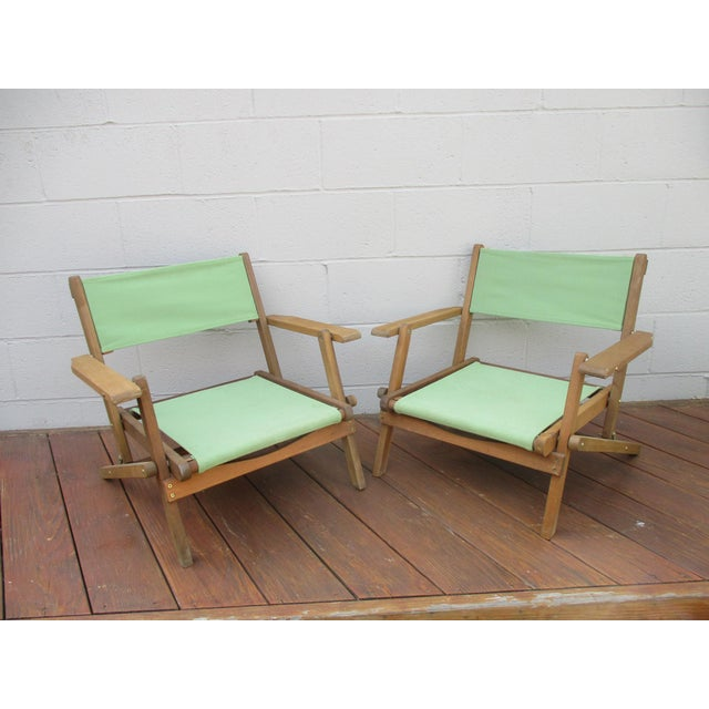 Vintage Teak Folding Canvas Chairs - A Pair Two folding teak chairs Great condiition Gorgeous teak with Sage Green Canvas...
