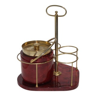 Barware Ice Bucket and Bottle Caddy in Brass & Red Goatskin by Aldo Tura 1950s For Sale
