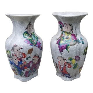 Chinese Vase With Child Design Vase Pair For Sale