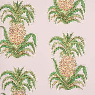 Schumacher Pineapples Wallpaper in Blush (9 Yards) For Sale