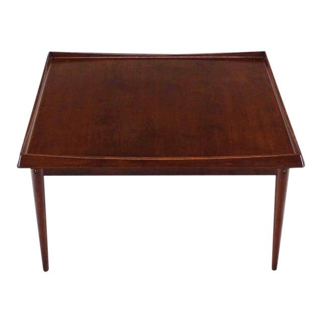 Danish Modern Teak Square Rolled Edge Coffee Table For Sale