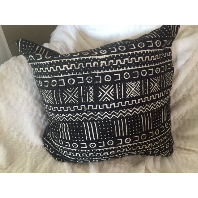 African Mud Cloth Black & White Pillow - Image 2 of 4