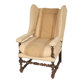 Antique Jacobean Style Wing Chair For Sale