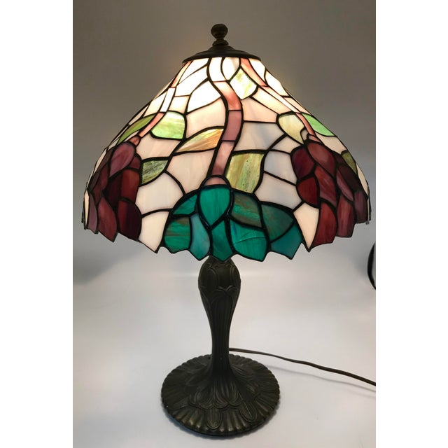 Vintage Tiffany Style Stained Glass Table Lamp For Sale - Image 10 of 10