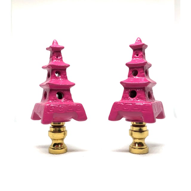 Asian Hollywood Regency Hot Pink Porcelain Pagoda Lamp Finials - a Pair For Sale - Image 3 of 3