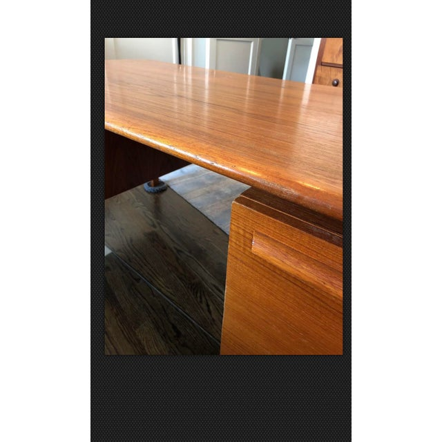 Danflex Systems Mid-Century Floating Top Teak Desk For Sale - Image 10 of 11