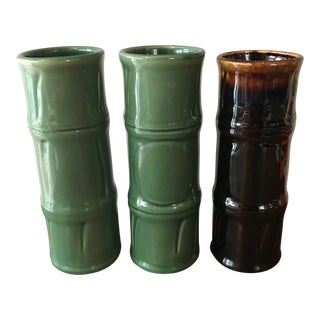 Libbey Bamboo Tall Tiki Mugs Green and Brown - Set of 3 For Sale