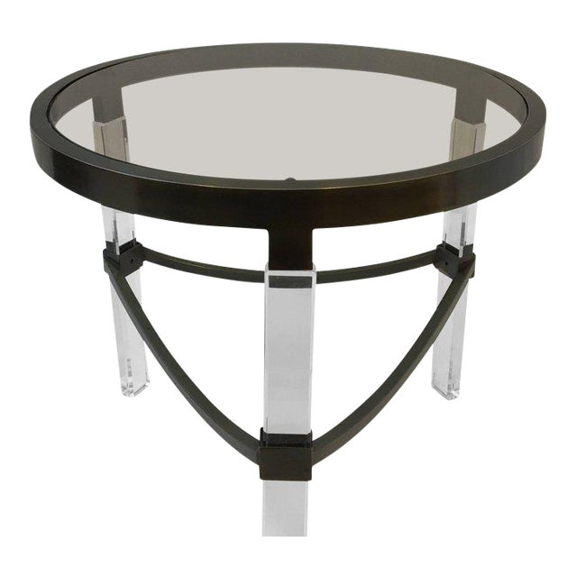 Bronze and Acrylic Side Table by Charles Hollis Jones For Sale