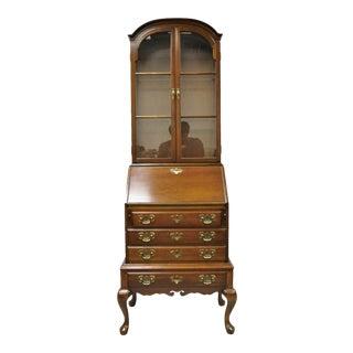 Vintage Maddox Queen Anne Cherry Small Secretary Desk Display Curio Bookcase For Sale