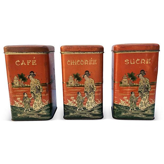 Chinoserie Coffee Canisters - S/3 - Image 1 of 4