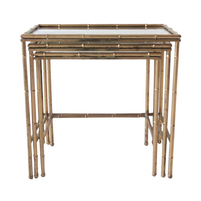Vintage Brass Faux Bamboo Nesting Tables - Set of 3 For Sale