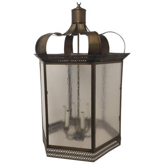 Classic Brass and Textured Glass 6 Sided Lantern For Sale