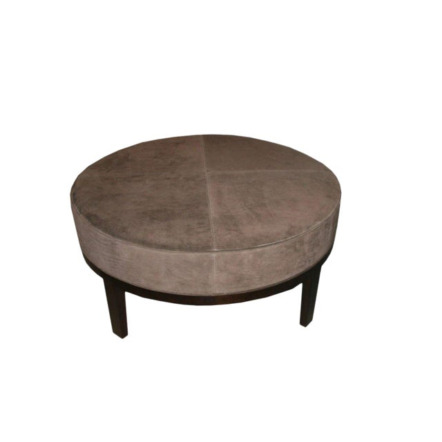 Customizable Haller Walnut Base Round Ottoman For Sale