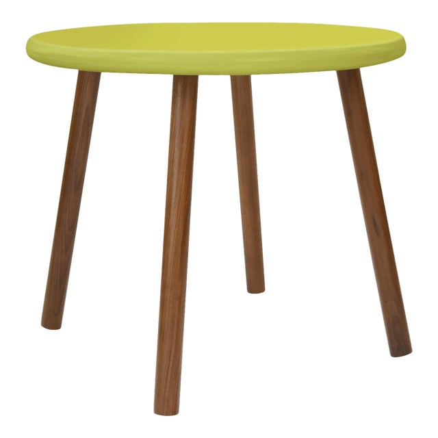 "Peewee Large Round 30"" Kids Table in Walnut With Green Finish Accent For Sale"