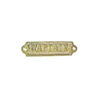 Solid Brass Captain Plaque