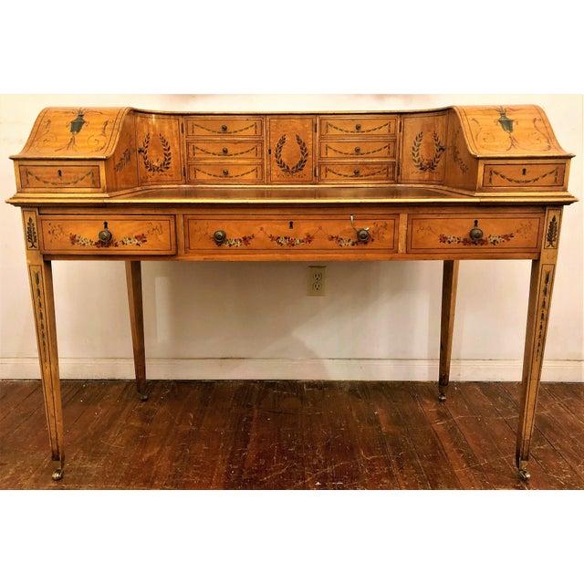 Wood Estate English Painted Satinwood Carlton House Writing Desk. For Sale - Image 7 of 7