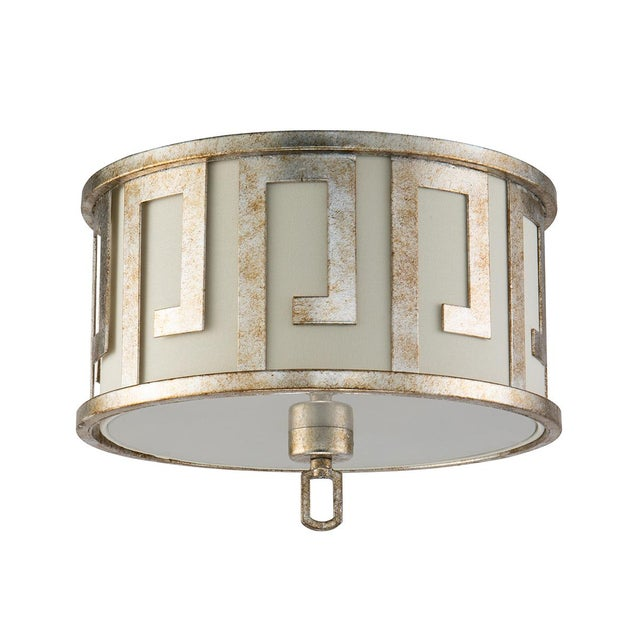 Our Flambeau inspired island pendant is designed with a classic Greek key like metal outer drum with an ivory linen inner...