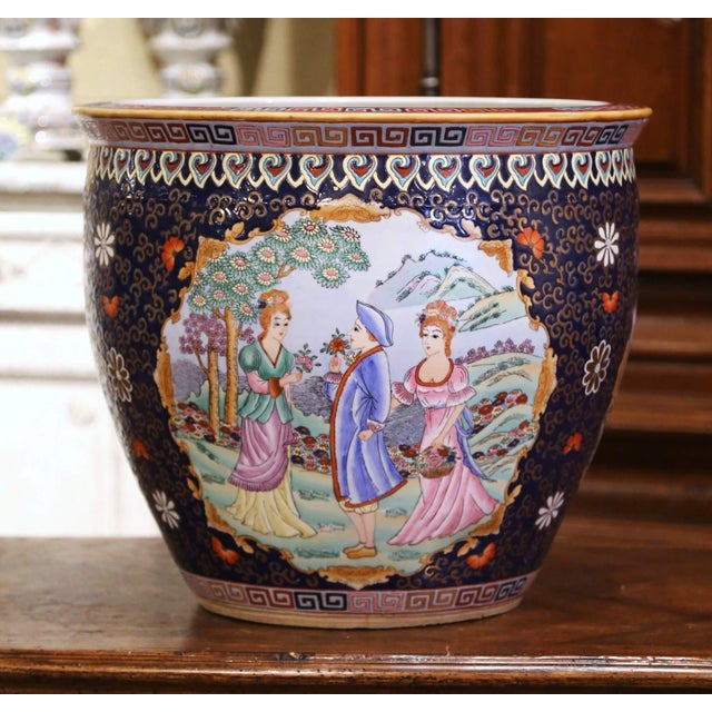 Chinoiserie Midcentury Chinese Export Porcelain Fish Bowl With Oriental Decorations For Sale - Image 3 of 12