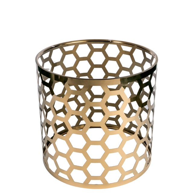 Contemporary Hollywood Regency Gold Stainless Steel Round Dining Table Base For Sale - Image 3 of 3