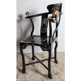 French Empire Mother-Of-Pearl Inlaid & Lacquer Corner Chair Preview