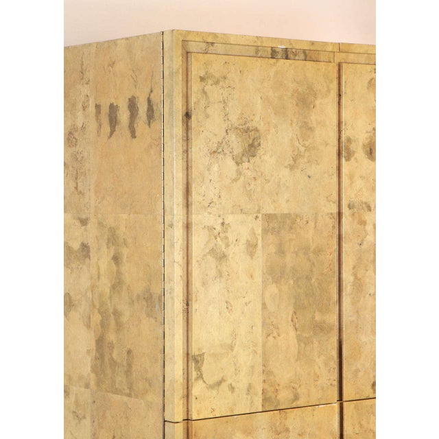 Mid-Century Modern 1980s Glazed Parchment Finish Armoire For Sale - Image 3 of 9