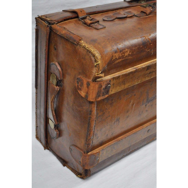 Antique 11.5 X 33 X 20 Large Brown English Leather Hard Luggage Suitcase Trunk For Sale - Image 9 of 10