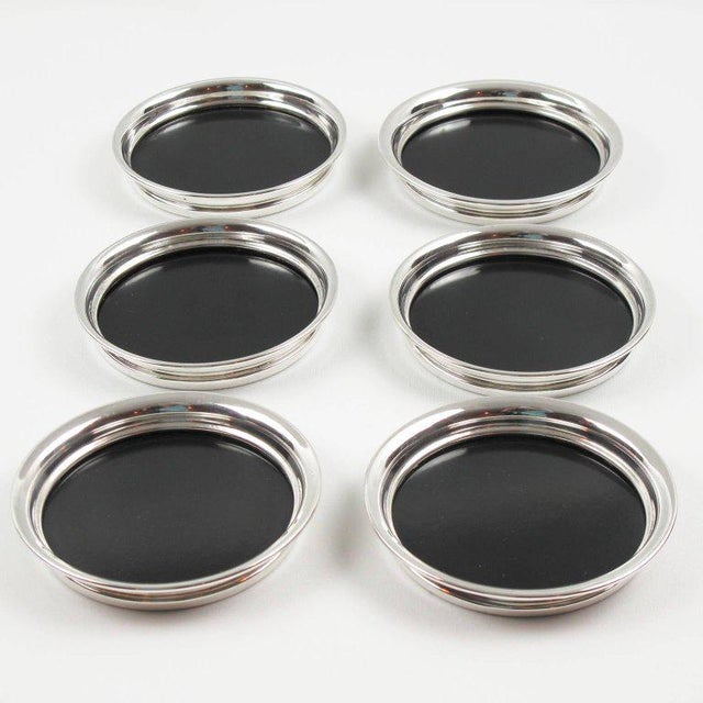 Silver F. B. Rogers Barware Serving Tray and Coasters Silver Plate and Bakelite For Sale - Image 8 of 9