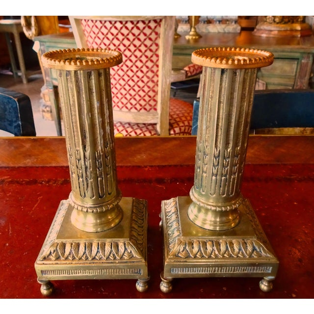 Gold 19th Century Bronze Fluted Candle Holders - a Pair For Sale - Image 8 of 8