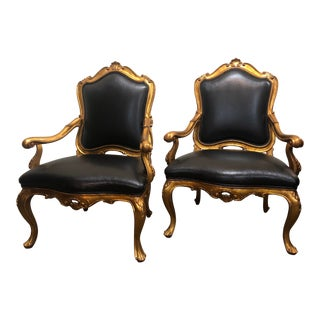 William Switzer Gilt Venetian Arm Chair - a Pair For Sale