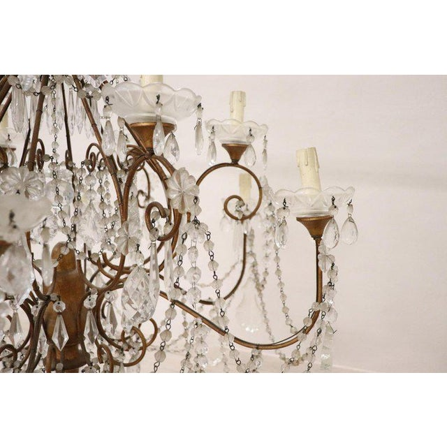 Bronze 20th Century Louis XVI Style Gilded Bronze and Crystals Large Luxury Chandelier For Sale - Image 7 of 11