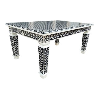 Bone Inlay Hand Crafted Coffee Table For Sale