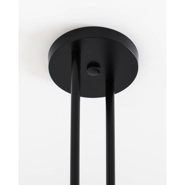 Current Koko Satin Globe Shade & Matte Black Finish Modern Pendant Light For Sale - Image 4 of 10
