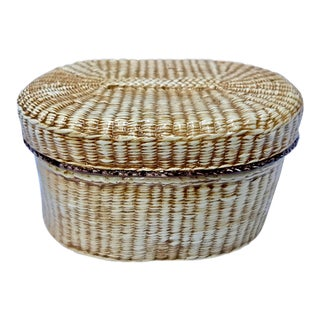 Vintage Ceramic Faux Woven Box For Sale