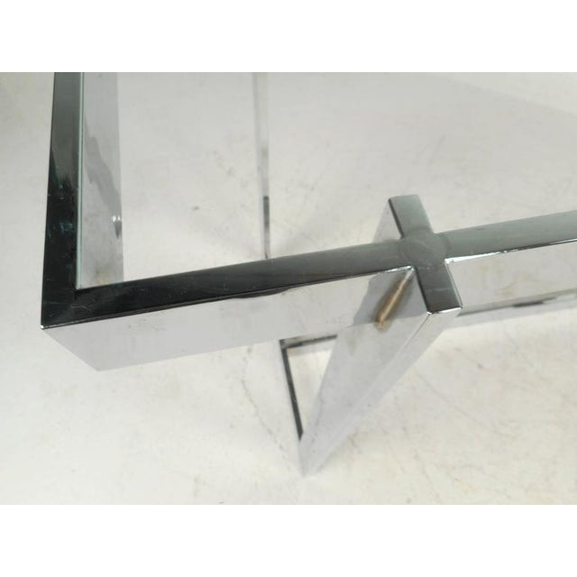 Milo Baughman Style Mid-Century Glass & Chrome Console Table For Sale - Image 5 of 6