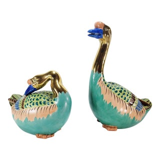 Chinese Famille Rose Gold Gilt Porcelain Swans - a Pair For Sale