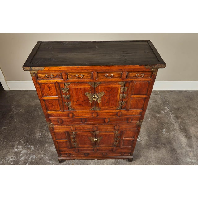 Asian 19th C. Korean Chest on Chest with Butterfly Hardware For Sale - Image 3 of 10