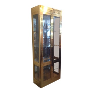 Signed Mastercraft Midcentury Brass Vitrine or Display Cabinet For Sale