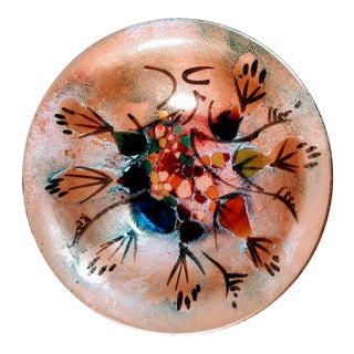 Vintage Mid Century Abstract Enamel Copper California Bowl For Sale